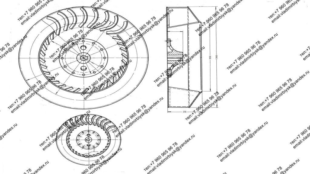Чертеж рабочего колеса Д-13.5 (ВД-13.5)