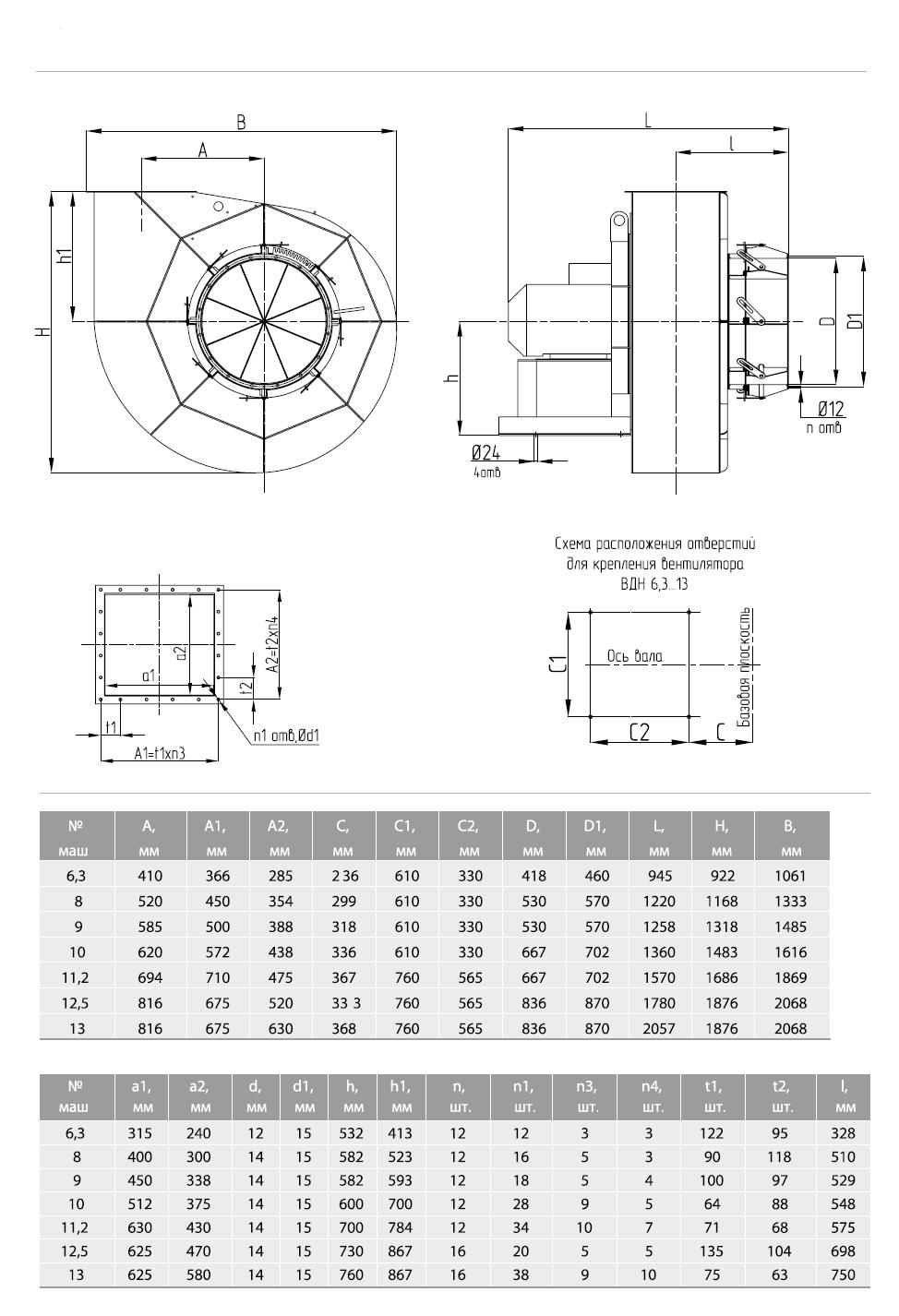 Габаритные-и-присоединительные-размеры-вентиляторов-ВДН-и-ДН-№6.3-№13-исполнения-1
