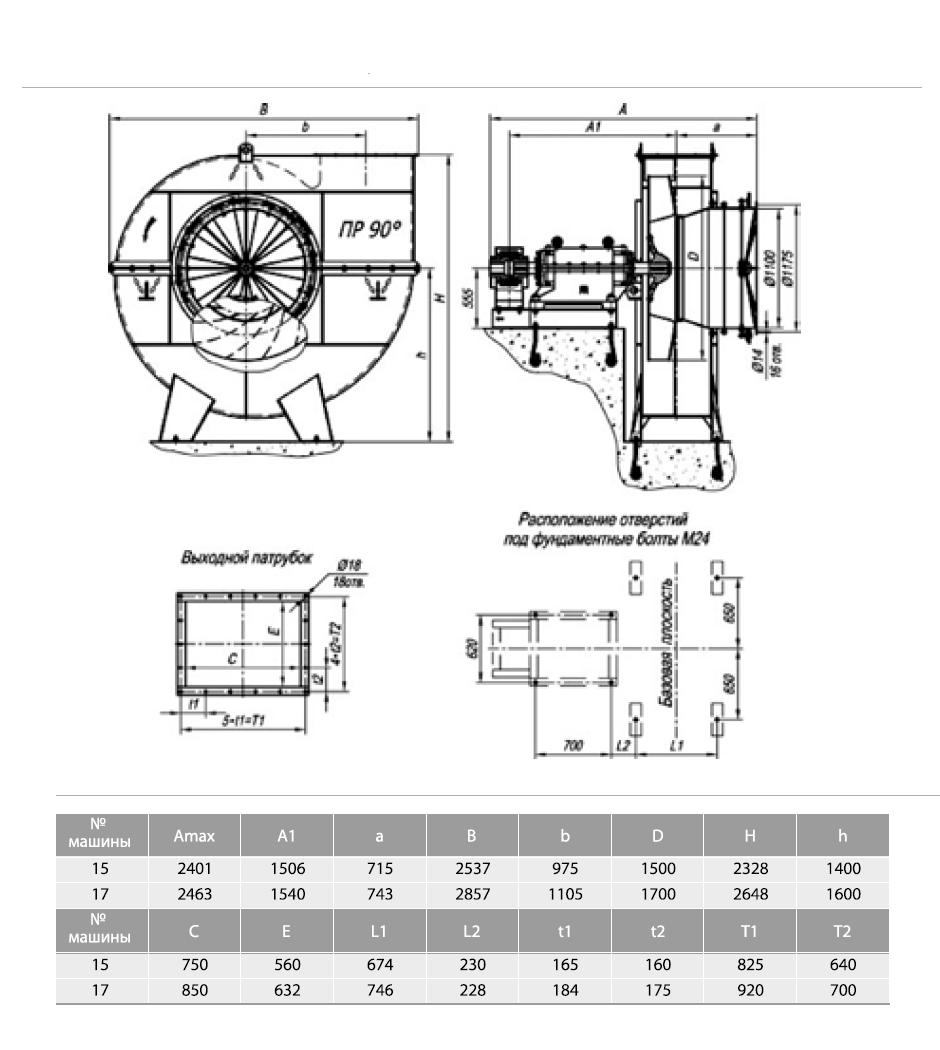 Габаритные-и-присоединительные-размеры-тягодутьевых-машин-типа-ВДН-и-ДН-№15-№17-исполнения-3