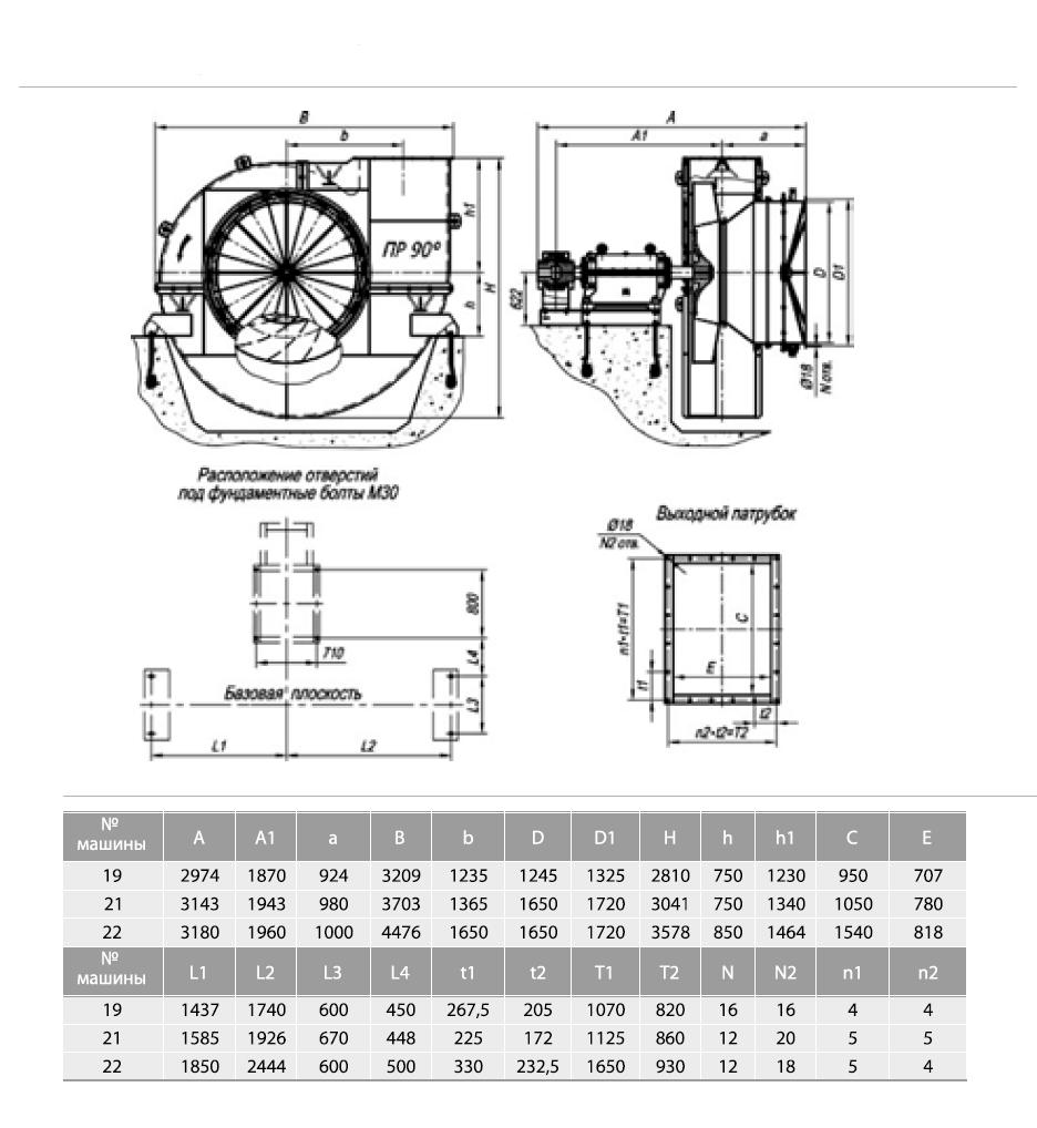 Габаритные-и-присоединительные-размеры-тягодутьевых-машин-типа-ВДН-и-ДН-№19-№22-исполнения-3