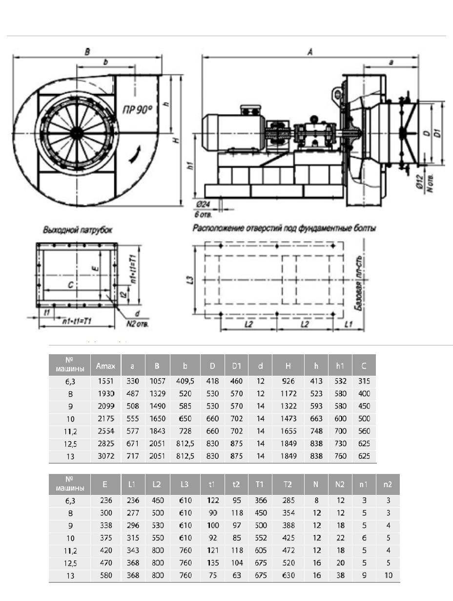 Габаритные-и-присоединительные-размеры-тягодутьевых-машин-типа-ВДН-и-ДН-№6.3-№13-исполнения-3